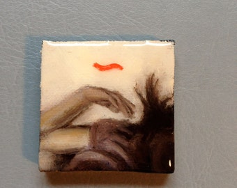 Sleepy arms up original mini oil painting on canvas encased in resin