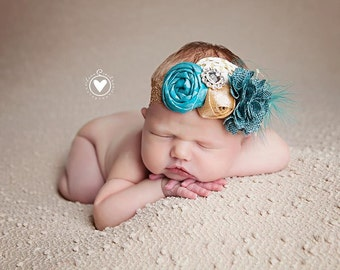 Sonnets and Songs - teal  and gold rosette and burlap metallic headband with netting and feather
