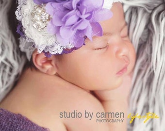 Passion for Purple- shades of purple and white chiffon, rosette and lace headband