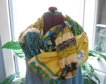 Boho Gypsy Scarf, Recycled Funky Hippie Wrap Shawl, Scarf, 100% upcycled Cotton Loop Scarf, Extra Long Scarf, Blue, Green, Golden Yellow