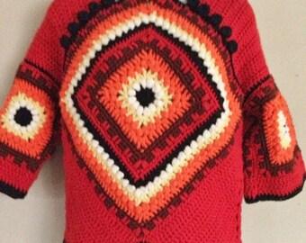 Unique Granny Square Crochet SMALL Sweater Handmade Vintage Asian Frog Button Orange Red Black Boho