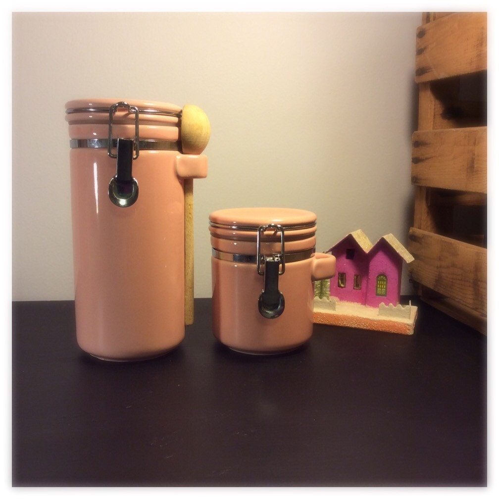 pink canisters kitchen vintage pink kitchen canisters complete 2 by 14554