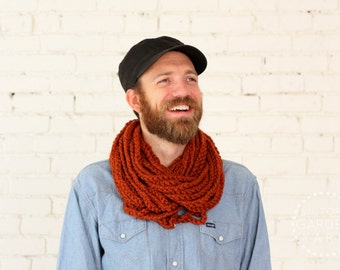 THE SKIPJACK COWL | 24 Color Choices | Mens Scarf Chunky Knit Infinity Rope Loop Cowl