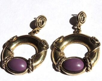 Etruscan Style Pierced Dangle Earrings Purple 1928 Designer Vintage Jewelry