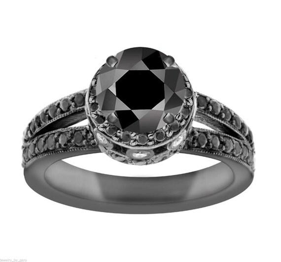 2.00 Carat Black Diamond Engagement Ring 14K Black Gold Vintage Style Certified Pave Set handmade