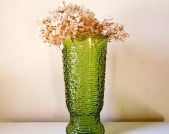 Vintage Avocado Green Soreno Vase by Anchor Hocking, Tall Flower Vase, Textured Vase, ON SALE