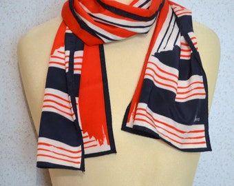 Vera Neumann long vintage scarf: Striped Nautical Red White and Blue