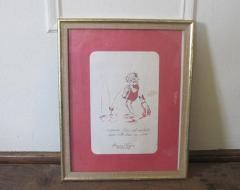 vintage framed French Print - attributed to Georges Redon  - charming Childrens Illustration, Baby & Dog - Perona Farms Restaurant, Menu Art