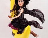 "OOAK polymer clay art doll, ""Matilda's Flight"", Halloween witch and moon by The Pixie Knoll,  Lori Platt"