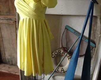 Dahlia Lemon Yellow- Octopus Infinity Wrap Dress- Weddings, bridesmaids