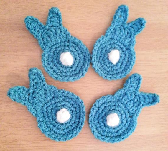 Crochet Bunny Butts, Aqua Blue Set of 4 Easter Bunny Appliques