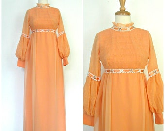 1960s Maxi Dress - 60s dress - hippie maxi - gypsy - bridal -  alternative wedding - empire waist - bridesmaid - XS S