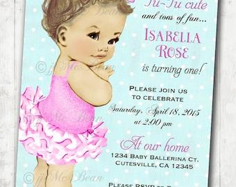 Vintage Ballerina Birthday Invitation For Girl - Ballet Party- First Birthday Girl - DIY Printable