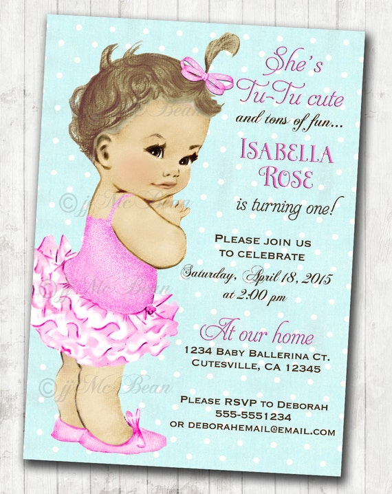 Vintage Ballerina Birthday Invitation For Girl Ballet Party - Vintage girl birthday invitation