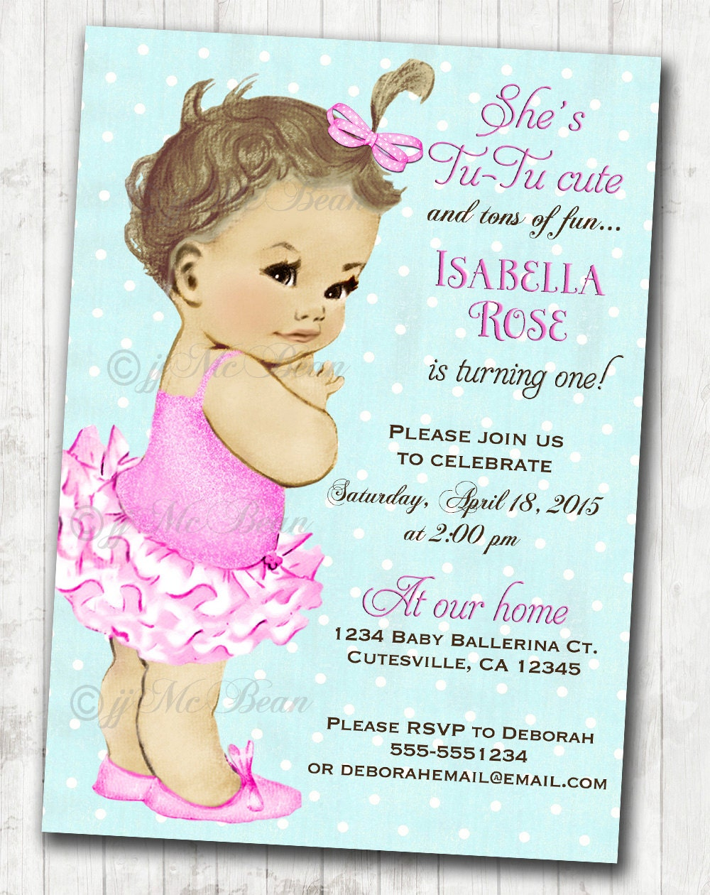 Vintage Ballerina Birthday Invitation For Girl Ballet Party