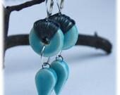 Hoop Earrings with Ceramic Hoop Beads, Hemp, Silver and Matching Ceramic Focal
