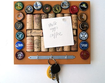 Wine Cork & Beer Cap Bulletin Board/Key Hanger - Mustard Yellow - for the wine geek and beer lover in your life
