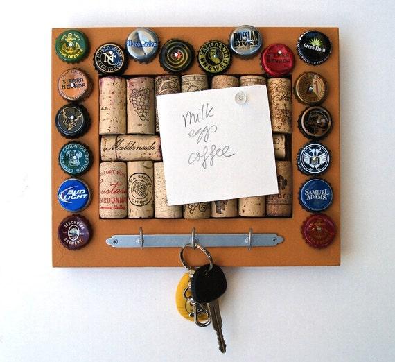 Wine Cork & Beer Cap Bulletin Board/Key Hanger - Mustard Yellow - for the wine geek and beer lover in your life