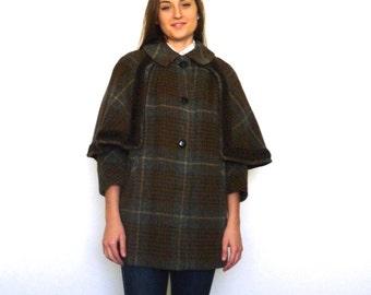 50s Chunky Plaid Sherlock Holmes Oversized Cape Hobo Coat s m l