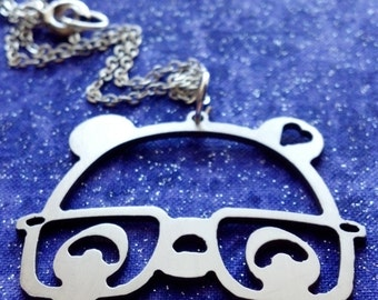 Nerdy Panda With Glasses Charm Necklace Key Chain or Pendant