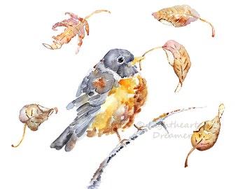 Bird Watercolor Print, Robin Painting, Autumn Wall Art, Dorm Decor, Robin Print, Bird Painting, Girl's Dorm Art, Woodland Decor, Robin Art