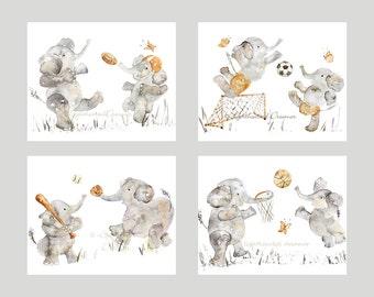 Set of 4 Nursery Prints, Choose from 11 Sports, Nursery Print Set, boy nursery art, Sports Elephant Prints, Elephant Nursery, Nursery Decor