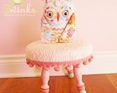 Petite Stuffed Owl Friend - Stuffed Owl Plush Friend - Pink Chenille Owl Pillow toy