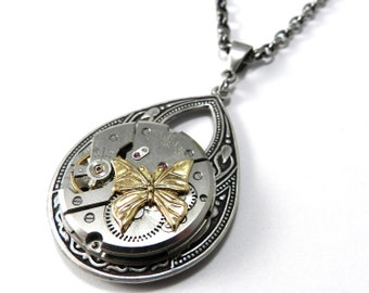 Steampunk Necklace - Vintage Butterfly Pendant - Silver Teardrop - Antique Mechanical Watch Movement - Compass Rose Design Jewelry