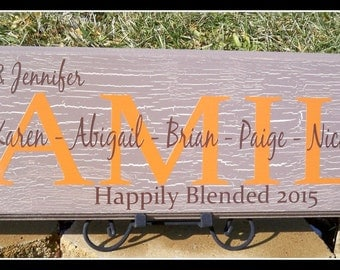 Blended family sign, personalized family name sign, blended family gift, family established sign, family name sign, blended family wedding