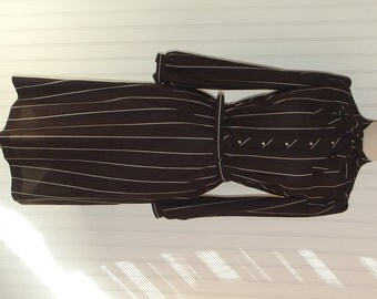 1970s Route One Shirt Dress, Long Sleeves Pinstripes, Elastic Waist, Brown and White, Medium , #47096