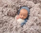 Blue Newborn Boy Bonnet, Knit Baby Blue Mohair Bonnet, Classic Newborn Bonnet, Knit Photo Prop, Newborn Baby Boy Photography Props