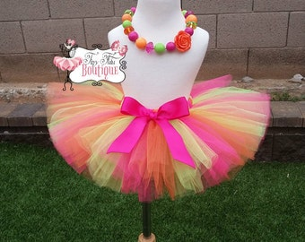 RAINBOW SHERBET- Hot Pink, Orange, and Lime Green tutu with hairbow:  Newborn-5T