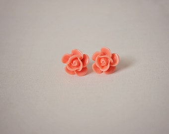 Handmade Peach Rose Earrings Peach Resin Flower Post Earrings Peach Flower Earrings Peach Earrings