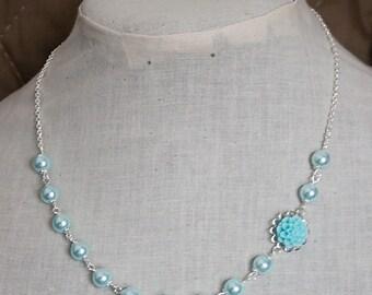 Handmade Aqua Flower Necklace Aqua Pearl Necklace Bridesmaid Necklace Aqua Resin Flower Jewelry Aqua Wedding Aqua Bridesmaid Necklace