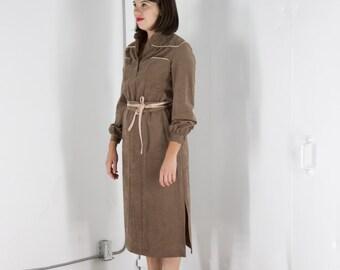 ON SALE Suede Dark Beige Dress / Long Sleeve Fall Dress / Midi Casual Dress