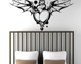 Vinyl Wall Decal Sticker Flaming Heart With Bat Wings 1471m