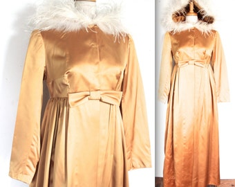 SALE Vintage 1950s Dress // 50s 60s Liquid Gold Satin Dressing Gown with Marabou Feather Trim Hood // DIVINE