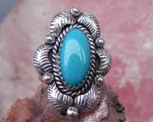 Turquoise and Sterling Feather Ring