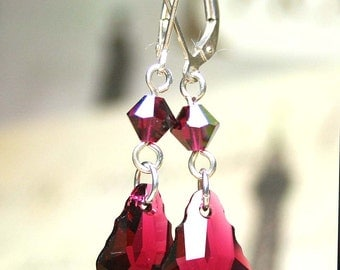 ON SALE - Long Ruby Red Earrings - Baroque Crystal Earrings in Ruby -  Swarovski Crystal and All Sterling Silver - Silver Leverbacks