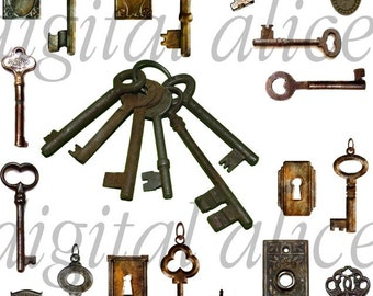 ANTIQUE KEYS and LOCKS- Digital Download - Collage Sheet Printable keys and lock images