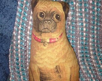 Primitive Vintage PUG DOG cloth Animal DOLL 1892 reproduction Litho Rag Doll Pillow - COuntry Cottage Prim