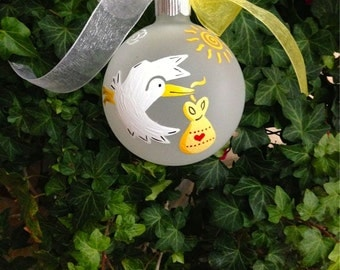New Baby Stork Ornament, Gender Reveal Christmas Ornament - Stork Baby Shower Gift - Personalized Hand Painted Bauble for Baby Nursery