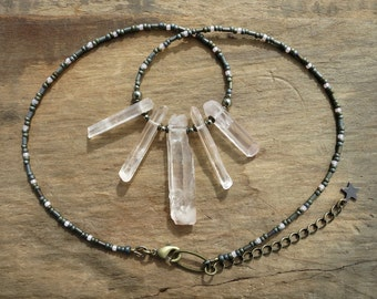 Rough Quartz Crystal Necklace, rustic Bohemian style peach quartz crystal fan beaded necklace, gray and pink jewelry