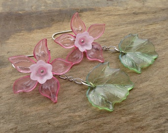 Pink Daffodil Earrings, bright pink flower dangle earrings with green leaves, floral spring statement jewelry