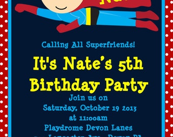 Superhero Birthday Invitation, Superhero Party Invitations, Printable or Printed
