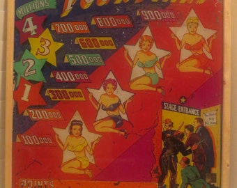 Four Stars PIN-UP Girls in Swimsuits D. Gottlieb GLASS Arcade Panel c1940s