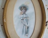 Antique Victorian print small oval wall hanging young girl empire waist long gloves gold frame early 1900's blush pink