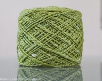 Hand Dyed Organic Cotton Yarn - 5oz Worsted - Bright Avocado Green