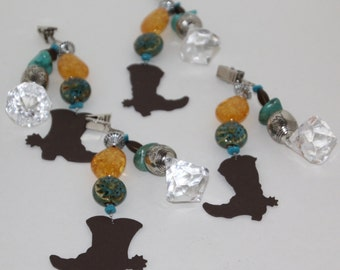 Cowboy/Cowgirl Boots Metal Turquoise Tablecloth Weights set of 4
