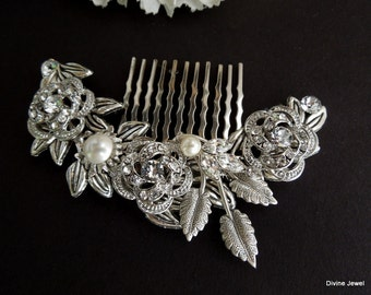 Ivory swarovski Pearls Bridal hair comb Pearl Rhinestone Hair Comb Bridal Pearl Rhinestone Hair Comb Wedding Rhinestone Hair Comb ROSELANI